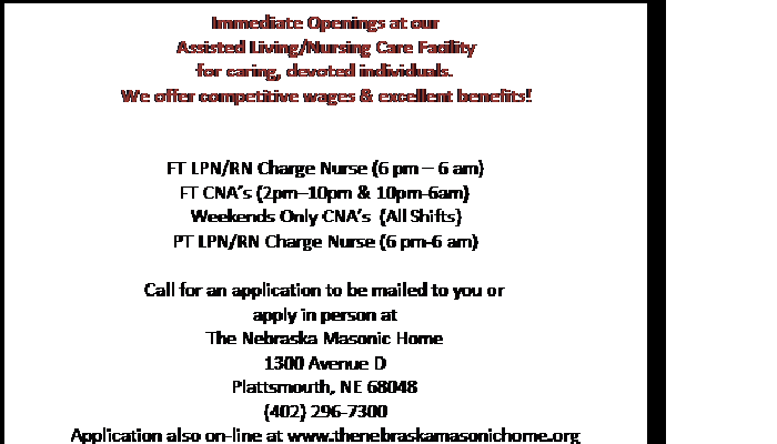 NE Masonic Home Help Wanted