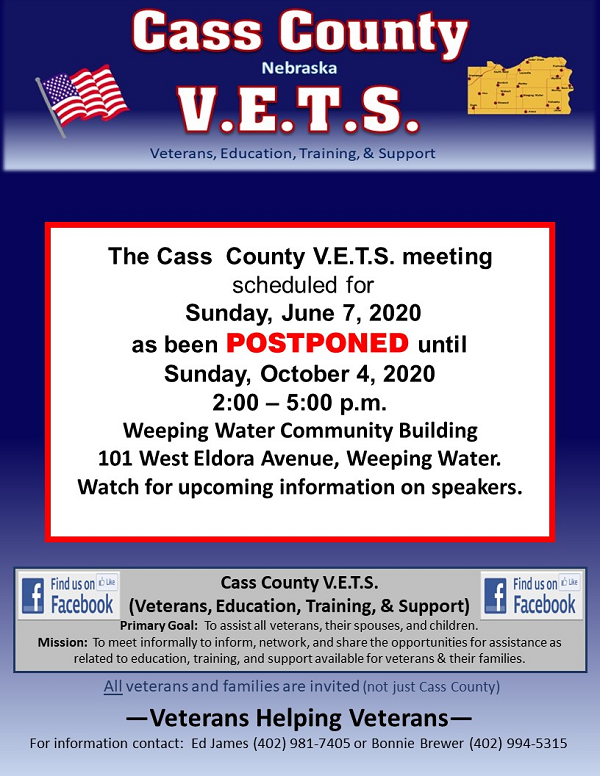 Cass County VETS June 7 2020 cancelled